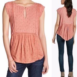 lucky | linen blend keyhole boho shell blouse sz L
